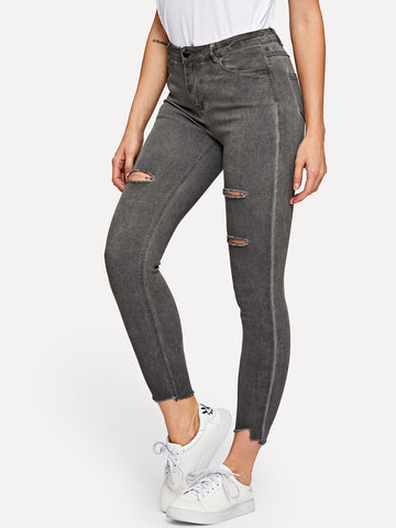 Ripped Button Detail Jeans | Amy's Cart Singapore