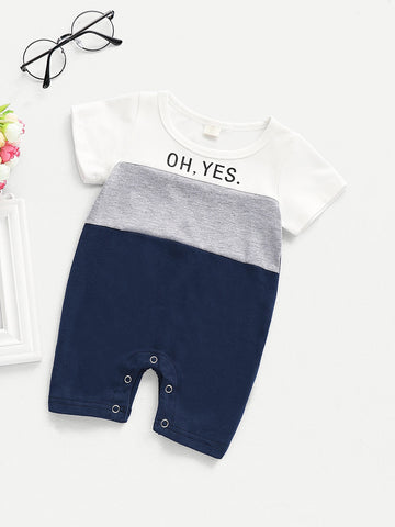 Baby Cut And Sew Panel Slogan Print Jumpsuit | Amy's Cart Singapore