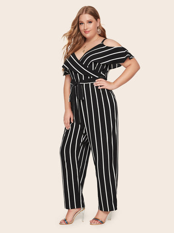Plus Cold Shoulder Surplice Neck Belted Striped Jumpsuit | Amy's Cart Singapore