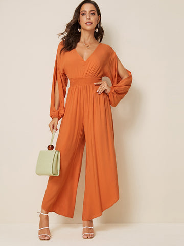 Split Sleeve Asymmetrical Hem Jumpsuit | Amy's Cart Singapore