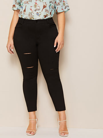 Plus Solid Ripped Jeans | Amy's Cart Singapore