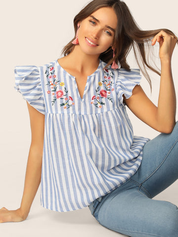 V-cut Neck Ruffle Armhole Floral Embroidered Top | Amy's Cart Singapore