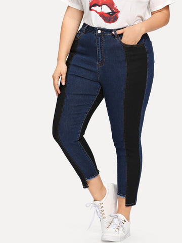 Plus Two Tone Stepped Hem Jeans | Amy's Cart Singapore