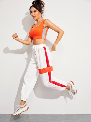 Neon Panel Drawstring Waist Wind Pants | Amy's Cart Singapore