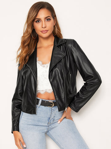 Zipper Fly Waterfall Collar PU Leather Jacket | Amy's Cart Singapore