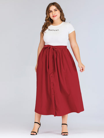 Plus Knot-front Single Breasted Skirt | Amy's Cart Singapore