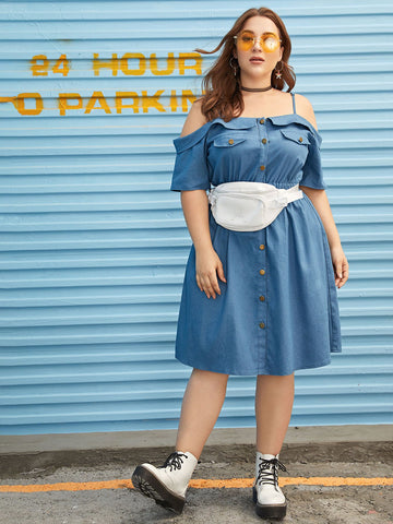 Plus Open-shoulder Button Through Denim Dress Without Bag | Amy's Cart Singapore