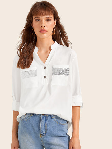 Roll Up Sleeve Notch Neck Blouse | Amy's Cart Singapore