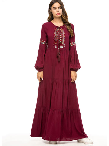 Tie Neck Embroidered Bishop Sleeve Longline Dress | Amy's Cart Singapore