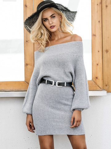 Simplee Bishop Sleeve Bardot Sweater Dress Without Belted | Amy's Cart Singapore