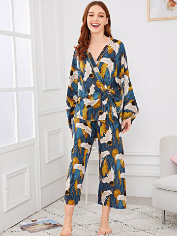 Crane Print Wrap Pajama Set | Amy's Cart Singapore