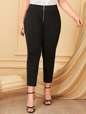 Plus Zip Front Skinny Pants | Amy's Cart Singapore