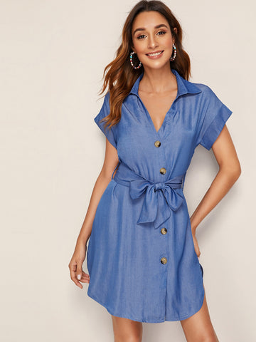 Button Front Belted Denim Shirt Dress | Amy's Cart Singapore