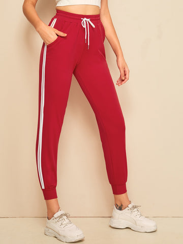Striped Tape Side Drawstring Waist Sweatpants | Amy's Cart Singapore