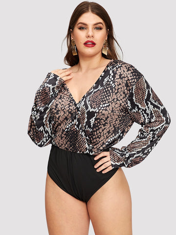 Plus Snake Print Surplice Bodysuit | Amy's Cart Singapore