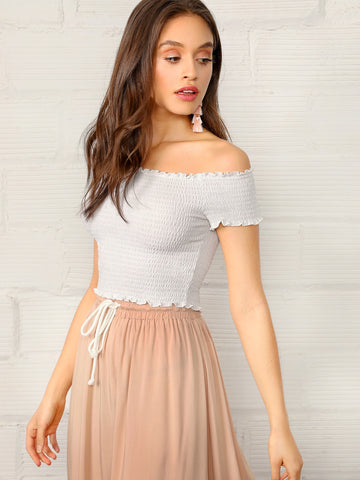 Off Shoulder Frill Trim Shirred Top | Amy's Cart Singapore