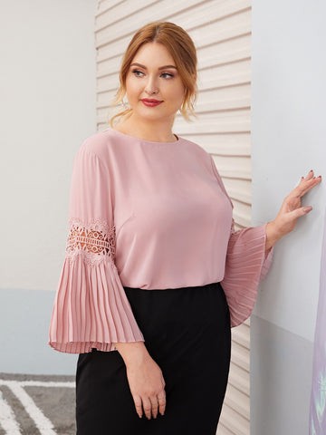 Plus Keyhole Back Lace Insert Pleated Sleeve Top | Amy's Cart Singapore
