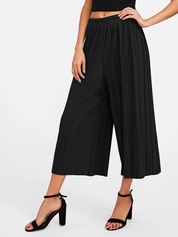 Elastic Waist Pleated Wide Leg Pants | Amy's Cart Singapore