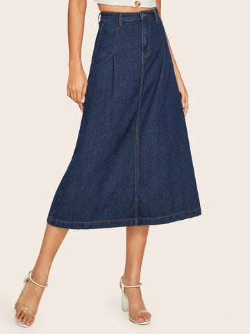 Dark Wash A-line Denim Skirt | Amy's Cart Singapore