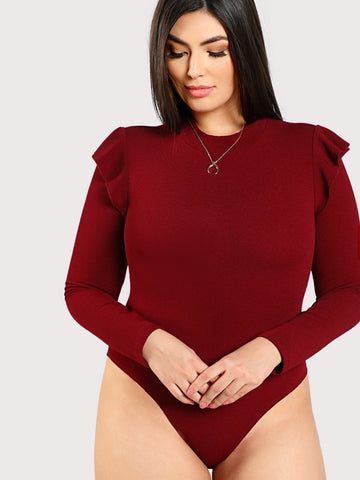 Plus Mock Neck Frill Shoulder Bodysuit | Amy's Cart Singapore