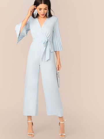 Pleated Sleeve Wrap Belted Wide Leg Jumpsuit | Amy's Cart Singapore