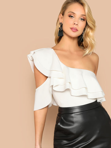 Layered Ruffle One Shoulder Bodysuit | Amy's Cart Singapore