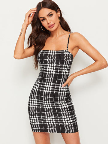 Houndstooth Print Slip Dress | Amy's Cart Singapore