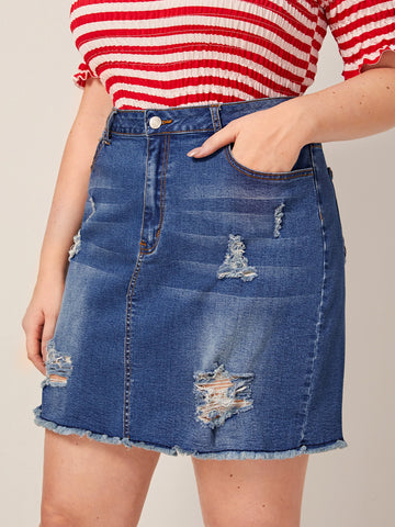 Plus Raw Hem Ripped Denim Skirt | Amy's Cart Singapore