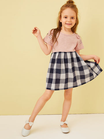 Toddler Girls Cartoon Print Gingham Hem A-line Dress | Amy's Cart Singapore