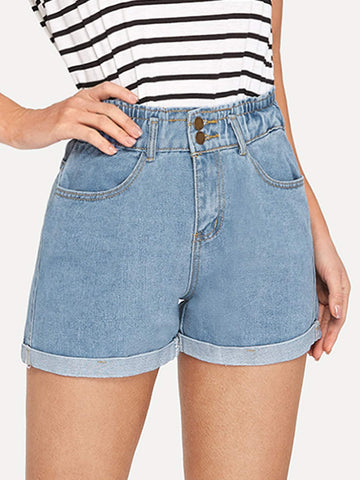 Roll-Hem Faded Denim Shorts | Amy's Cart Singapore