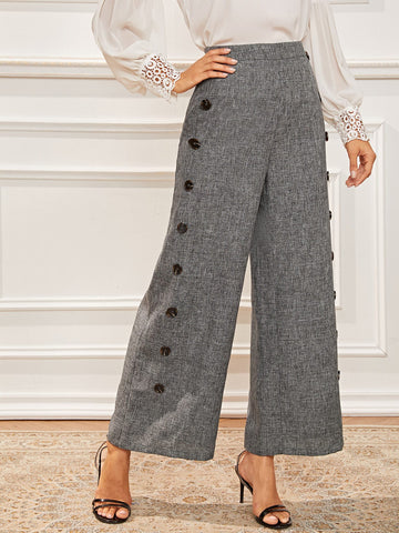 Buttoned Patched Wide Leg Marled Pants | Amy's Cart Singapore