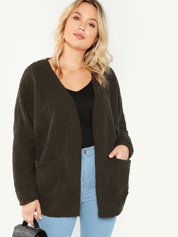 Plus Pocket Front Fluffy Coat | Amy's Cart Singapore
