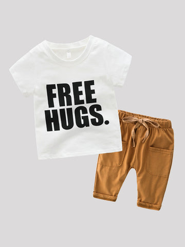 Toddler Boys Letter Print Tee With Drawstring Pants | Amy's Cart Singapore