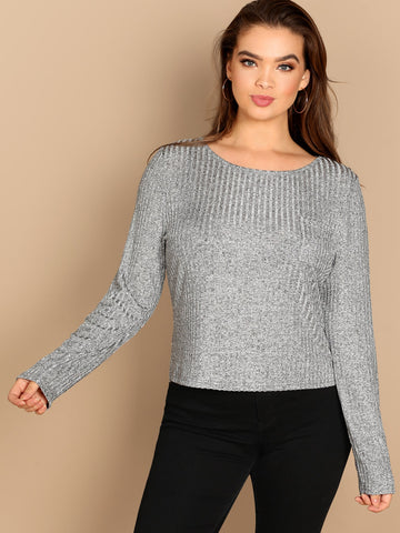 Plus Solid Heathered Knit Tee | Amy's Cart Singapore