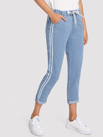 Stripe Contrast Drawstring Jeans | Amy's Cart Singapore