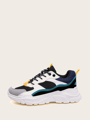 Men Colorblock Lace-up Chunky Sneakers | Amy's Cart Singapore