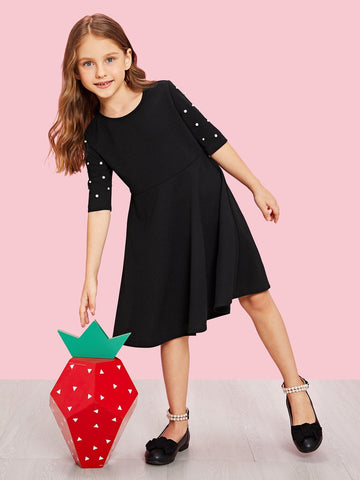 Girls Pearl Beading Fit & Flare Dress | Amy's Cart Singapore
