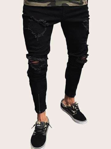 Men Zip Hem Ripped Skinny Jeans | Amy's Cart Singapore