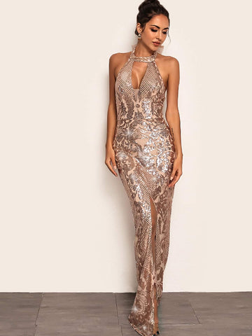 Joyfunear Split Hem Backless Halter Sequin Maxi Dress | Amy's Cart Singapore