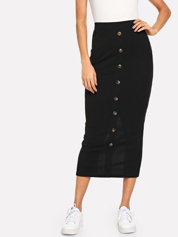 Button Detail Rib Knit Bodycon Skirt | Amy's Cart Singapore