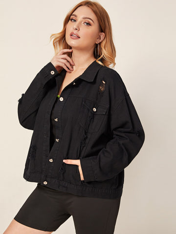 Plus Black Wash Ripped Denim Jacket | Amy's Cart Singapore