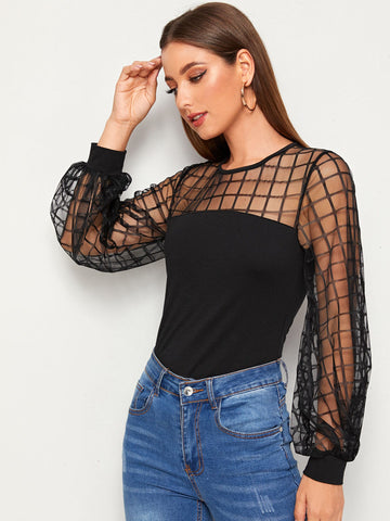 Geo Mesh Yoke Lantern Sleeve Top | Amy's Cart Singapore
