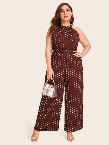 Plus Polka Dot Wide Leg Belted Halter Jumpsuit | Amy's Cart Singapore
