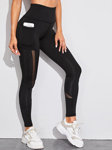 Mesh Insert Pocket Detail Skinny Leggings | Amy's Cart Singapore
