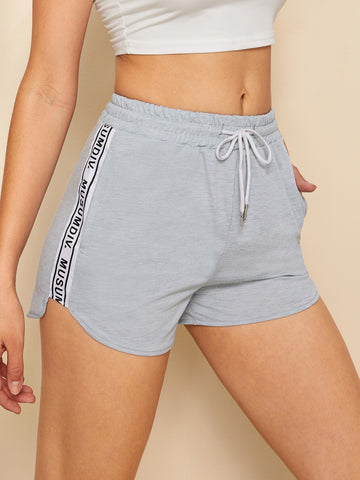 Drawstring Waist Letter Tape Dolphin Shorts | Amy's Cart Singapore