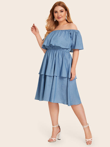 Plus Off Shoulder Tiered Layer Ruffle Denim Dress | Amy's Cart Singapore