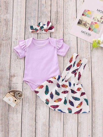 Baby Frill Romper & Feather Print Straps Skirt & Headband | Amy's Cart Singapore