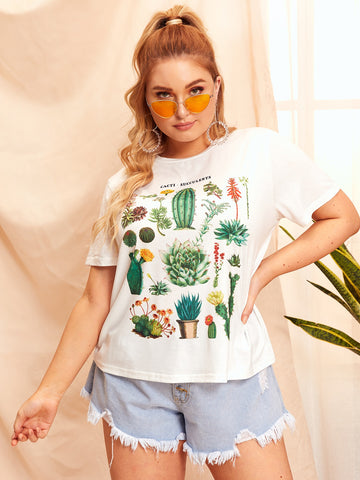 Plus Cactus & Letter Print Tee | Amy's Cart Singapore