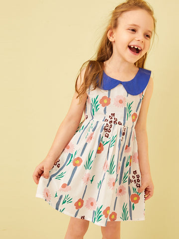 Toddler Girls Floral Print Contrast Collar A-line Dress | Amy's Cart Singapore