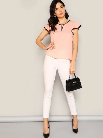 Contrast Binding Keyhole Flutter Sleeve Top | Amy's Cart Singapore